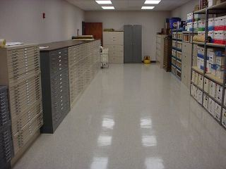 A records room with filing cabinets