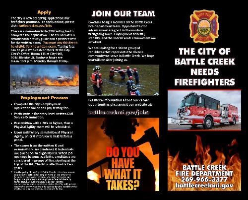 Fire Department recruitment brochure, page 1