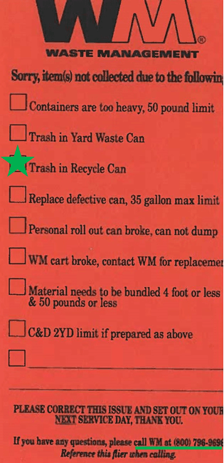 Waste Management red tag