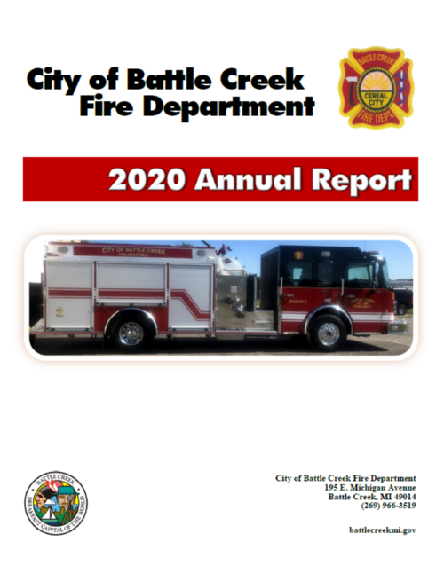 Fire Department 2020 annual report cover image, featuring fire vehicle