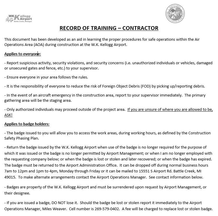 Record of Training-Contractor form