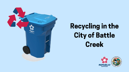 Recycling in Battle Creek text with blue Republic recycling cart and recycling symbol