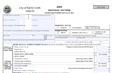 Top of the 2020 Battle Creek local income tax 1040 form
