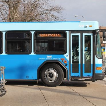 Columbia/Territorial bus leaving the downtown Battle Creek transfer center