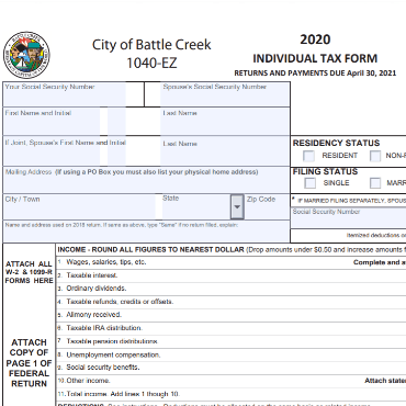 Top half of City of Battle Creek 1040 local income tax form