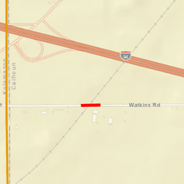 Map showing road closure at Watkins Road railroad crossing